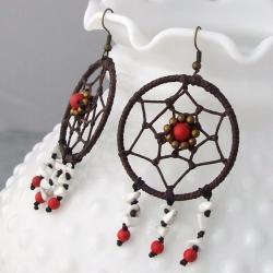 Handmade Cotton/ Brass Dream Catcher Turquoise and Coral Earrings (Thailand)