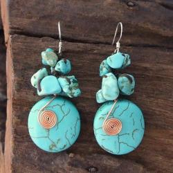 Handmade Copper Wired Reconstructed Turquoise Drop Earrings (Thailand)