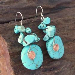 Handmade Copper Wired Reconstructed Turquoise Drop Earrings (Thailand) - Thumbnail 1