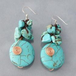 Handmade Copper Wired Reconstructed Turquoise Drop Earrings (Thailand) - Thumbnail 2