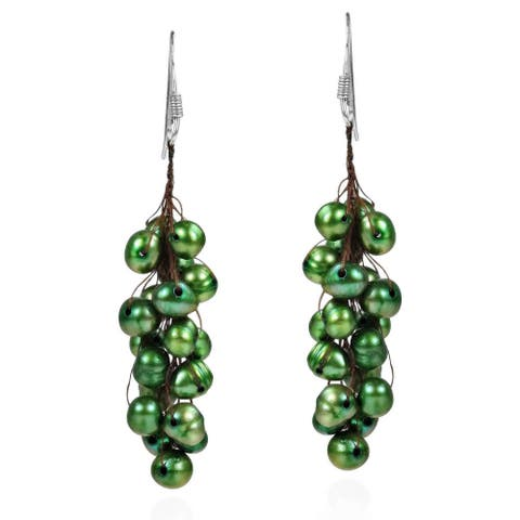 Handmade Cluster Green Pearl Sterling Silver Dangle Earrings (Thailand)