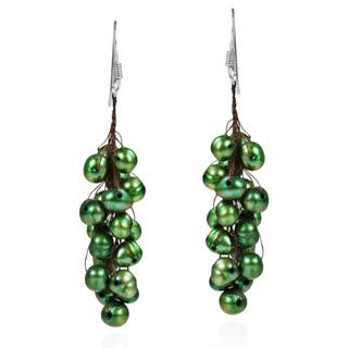 Handmade Silver/ Cotton Green Pearl Cluster Drop Earrings (5-10 mm) (Thailand)|https://ak1.ostkcdn.com/images/products/6000095/P13687159.jpg?impolicy=medium