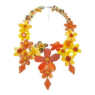 Handmade Carnelian and Mix Gemstone Grand Floral Bouquet Necklace (Thailand)