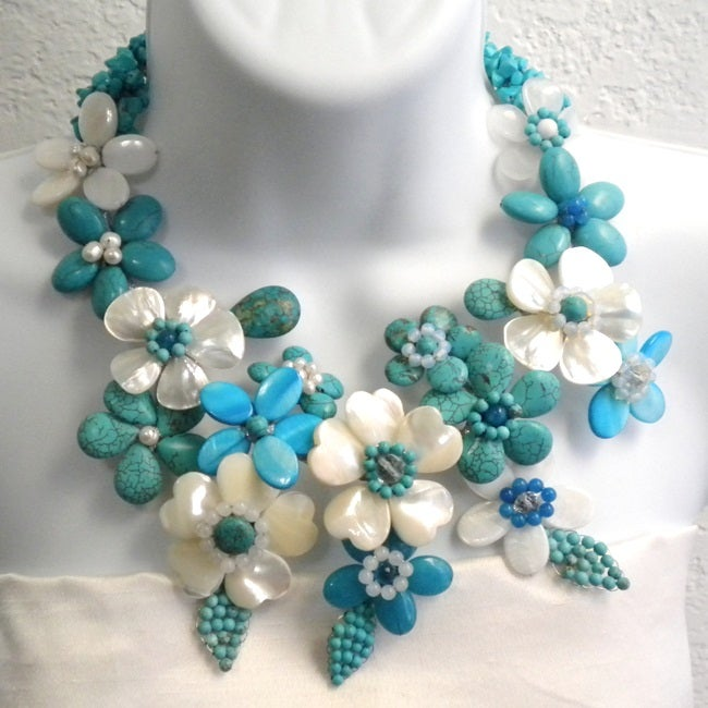 Pearl and Gemstone Grand Floral Bouquet Necklace (6-8 mm) (Thailand)