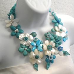 Pearl and Gemstone Grand Floral Bouquet Necklace (6-8 mm) (Thailand) - Thumbnail 1