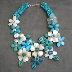 Pearl and Gemstone Grand Floral Bouquet Necklace (6-8 mm) (Thailand) - Thumbnail 2