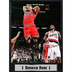 Chicago Bulls Derrick Rose Black Hangable Commemorative Photo Plaque - Thumbnail 0