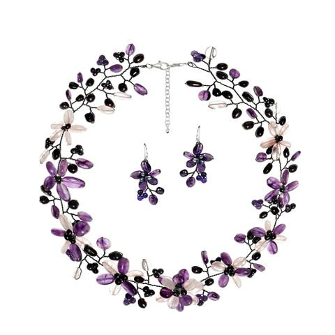 Handmade Intricate Amethyst Clear Quartz Floral Sterling Silver Jewelry Set (Thailand)