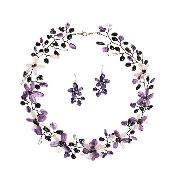 Handmade Pearl/ Amethyst/ Clear Quartz Floral Jewelry Set (3-8 mm) (Thailand)