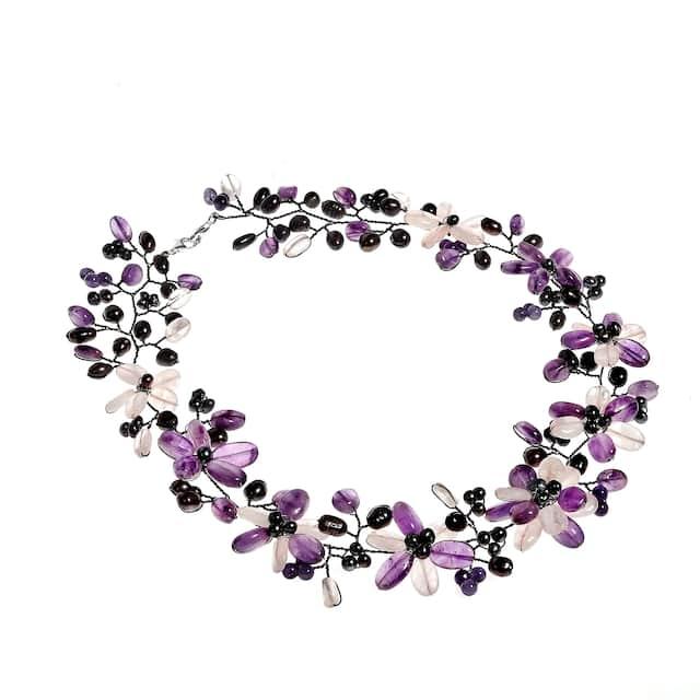 Pearl/ Amethyst/ Clear Quartz Floral Jewelry Set
