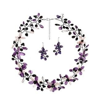 Handmade Pearl/ Amethyst/ Clear Quartz Floral Jewelry Set (Thailand)