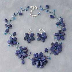 Lapis Lazuli Navy Floating Flowers Jewelry Set (Thailand)