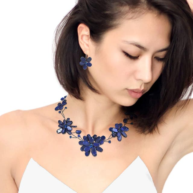 Lapis Lazuli Navy Floating Flowers Jewelry Set
