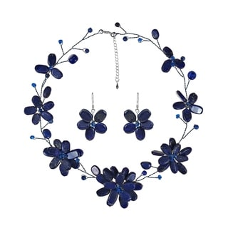 Handmade Lapis Lazuli Navy Floating Flowers Jewelry Set (Thailand)