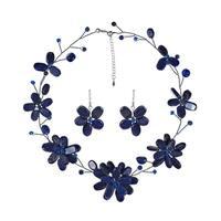 Handmade Lapis Lazuli Navy Floating Flowers Jewelry Set (Thailand)