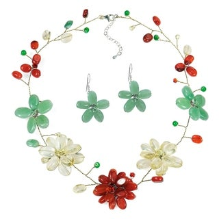 Handmade Jade and Carnelian Floating Flower Jewelry Set (Thailand)