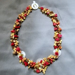 Handmade Autumn SeaShells Synthetic Coral Cluster Toggle Necklace (Philippines)