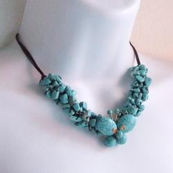 Handmade Copper Cute Wing Butterfly Reconstructed Turquoise Necklace (Thailand)