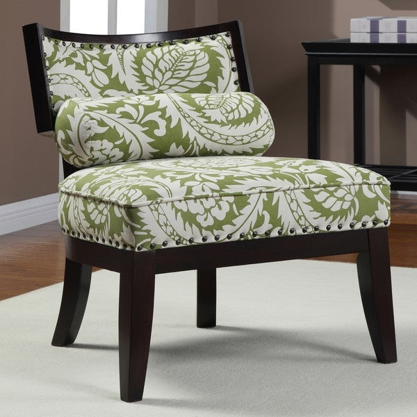 Hannah Green Floral Chair with Bolster Pillow