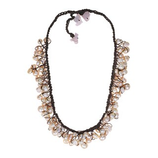 Handmade Cotton Natural Pink Pearl and Rose Quartz Necklace (4-8 mm) (Thailand)