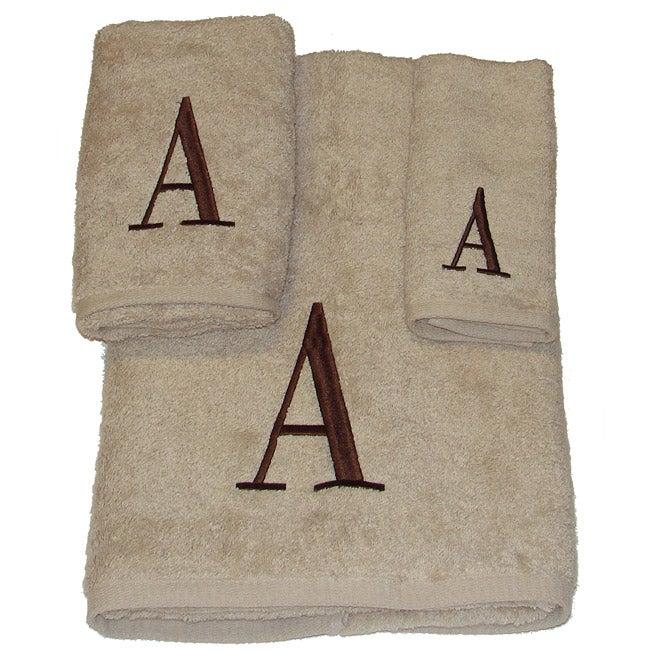 Avanti Brown Block 'A' Monogram 3-piece Towel Set
