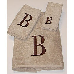 Avanti Brown Block 'B' Monogram 3-piece Towel Set