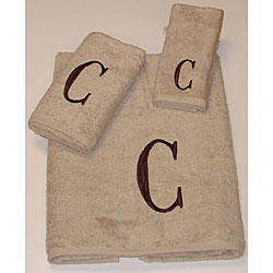 Avanti Brown Block 'C' Monogram 3-piece Towel Set