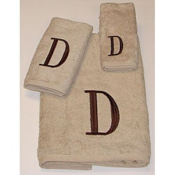 Avanti Brown Block 'D' Monogram 3-piece Towel Set
