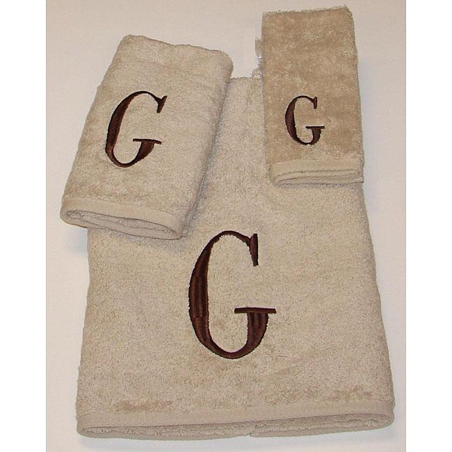 Avanti Brown Block 'G' Monogram 3-piece Towel Set