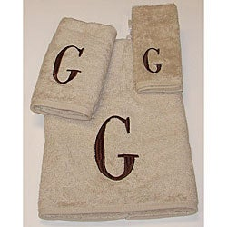 Avanti Brown Block 'G' Monogram 3-piece Towel Set