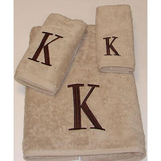 Avanti Brown Block 'K' Monogram 3-piece Towel Set
