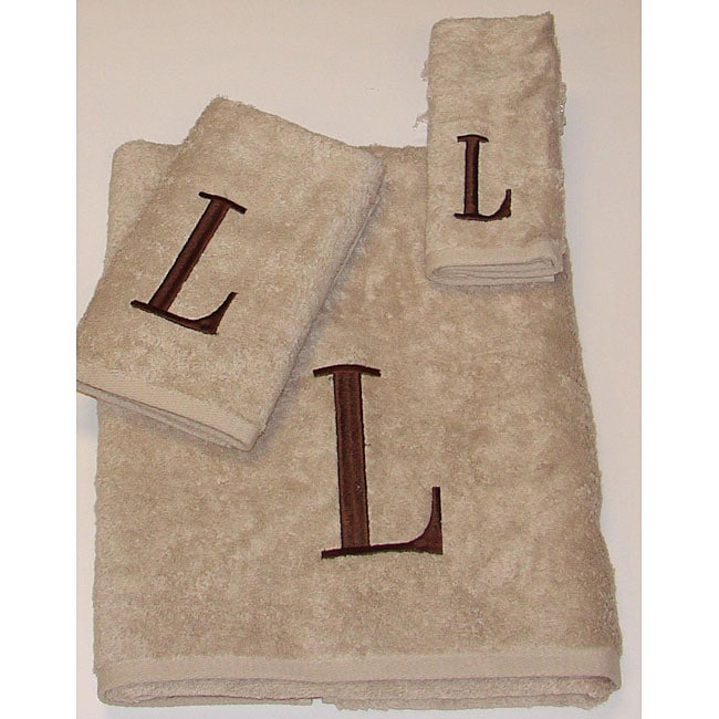 Avanti Brown Block 'L' Monogram 3-piece Towel Set