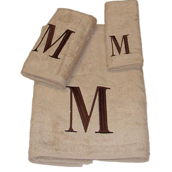 Avanti Brown Block 'M' Monogram 3-piece Towel Set