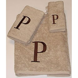 Avanti Brown Block 'P' Monogram 3-piece Towel Set
