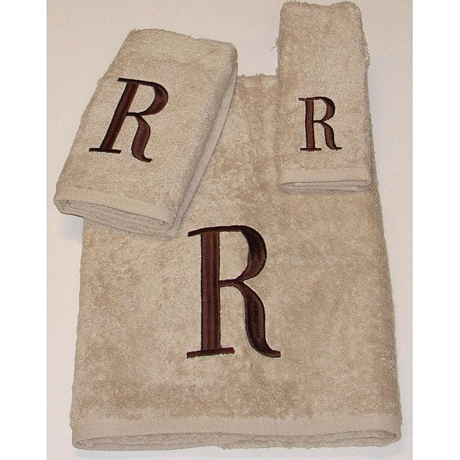 Avanti Brown Block 'R' Monogram 3-piece Towel Set