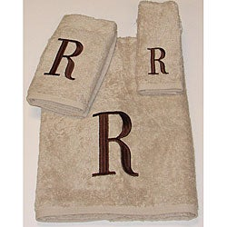 Avanti Brown Block 'R' Monogram 3-piece Towel Set