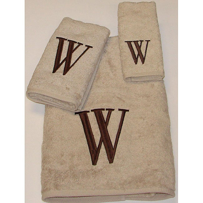 Avanti Brown Block 'W' Monogram 3-piece Towel Set