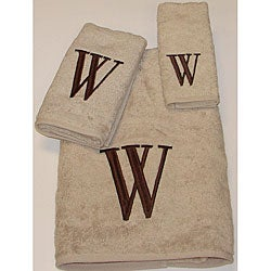 Avanti Brown Block 'W' Monogram 3-piece Towel Set