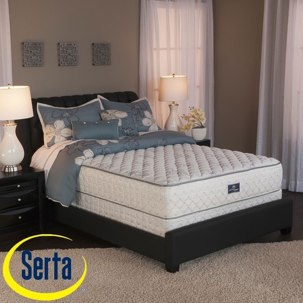 serta perfect sleeper liberation cushion firm split queen size mattress and box spring set. Black Bedroom Furniture Sets. Home Design Ideas