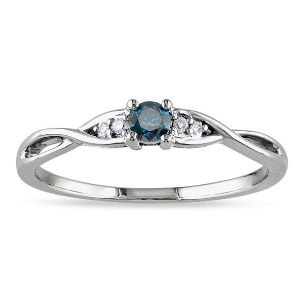 Miadora 10k Gold 1/6ct TDW Blue and White Diamond Ring
