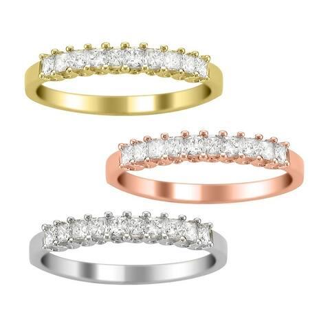 Montebello 14KT Gold 1/2ct TDW Princess Diamond Wedding Band