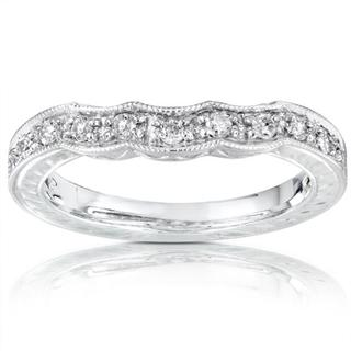 Annello by Kobelli 14k White Gold 1/5ct TDW Diamond Curved Wedding Band