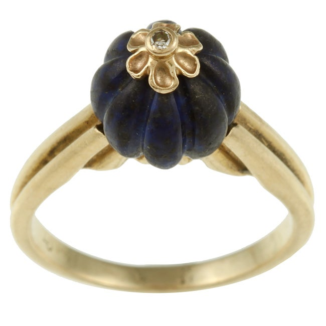 14k Yellow Gold Art Deco Carved Lapis and Diamond Accent Estate Ring (K-L, I1-I2)