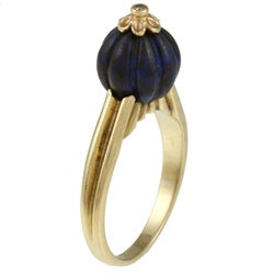 14k Yellow Gold Art Deco Carved Lapis and Diamond Accent Estate Ring (K-L, I1-I2) - Thumbnail 1