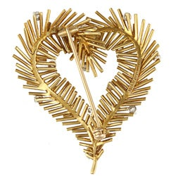 Pre-owned Tiffany 18k Yellow Gold 2/5ct TDW Vintage Heart Brooch (G-H, VS1-VS2) - Thumbnail 1