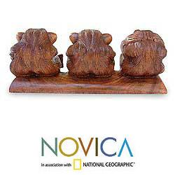 Suar Wood 'Three Monkeys' Sculpture, Handmade in Indonesia