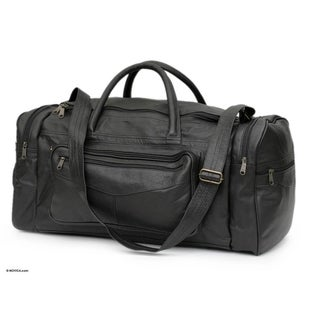Tote Handle Adjustable Strap Lined Seven Compartment Zipper Closure Soft Black Leather Hold All Carry On Travel Bag (Brazil)