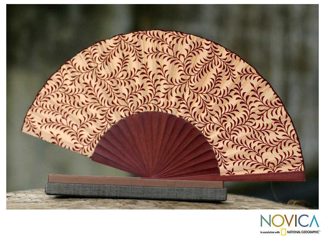 Silk 'Red Fern' Batik Fan (Indonesia)