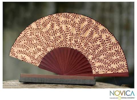Handmade Silk 'Red Fern' Batik Fan (Indonesia)