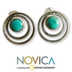 Sterling Silver 'Vibrations' Chrysocolla Button Earrings (Peru) - Thumbnail 1